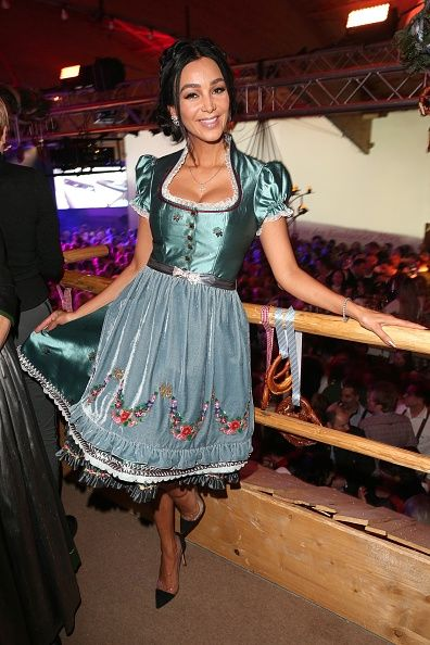 Verona Pooth wearing a dirndl by Lola Paltinger during the ...