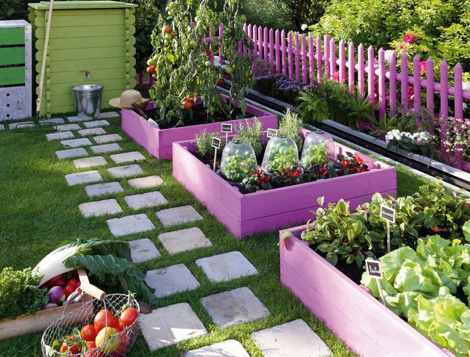 Painted raised beds in a casual vegetable garden outside the