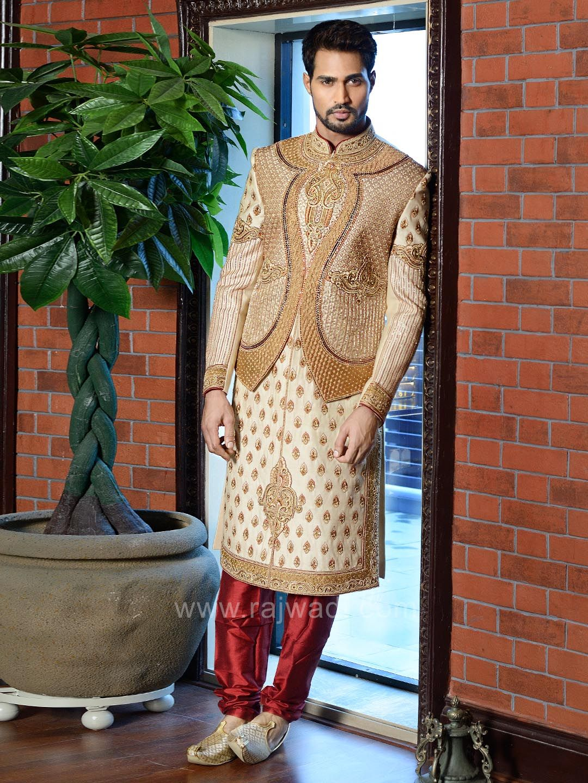 Cutdana work art silk sherwani rajwadi designer exclusive trendy