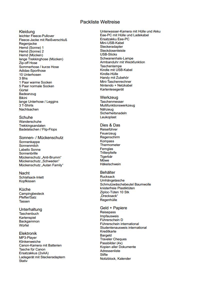 Nett Packliste Vorlage Verschieben Galerie - Entry Level Resume ...