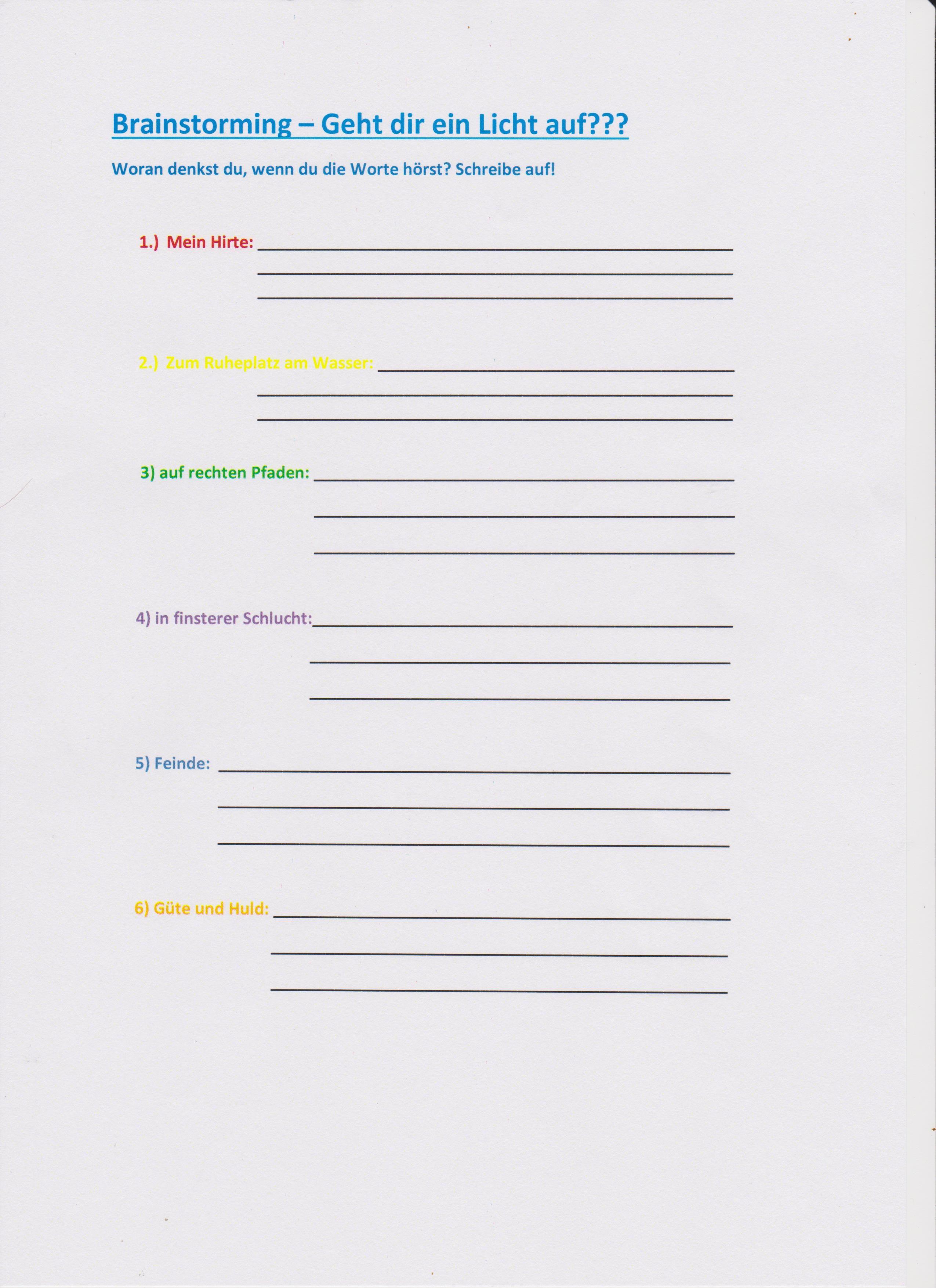 Outstanding Brainstorming Arbeitsblatt Crest - Kindergarten ...