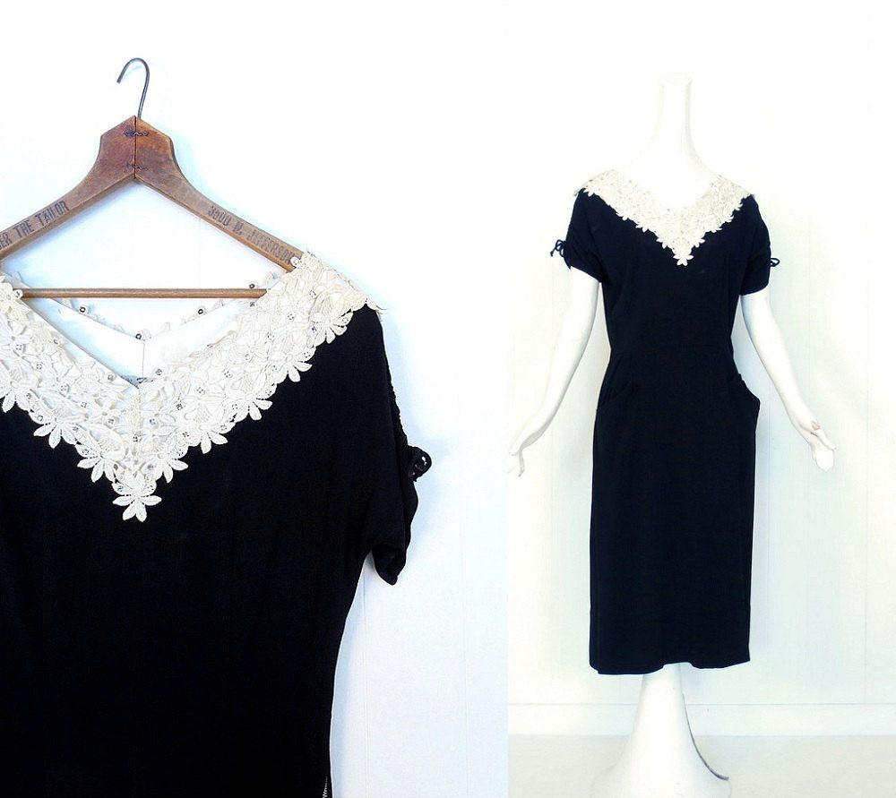 Vintage 1940s Dress / 40s Black Dress / Lace Collar Dress / Small S by SmallEarthVintage on Etsy https://www.etsy.com/listing/180529452/vintage-1940s-dress-40s-black-dress-lace