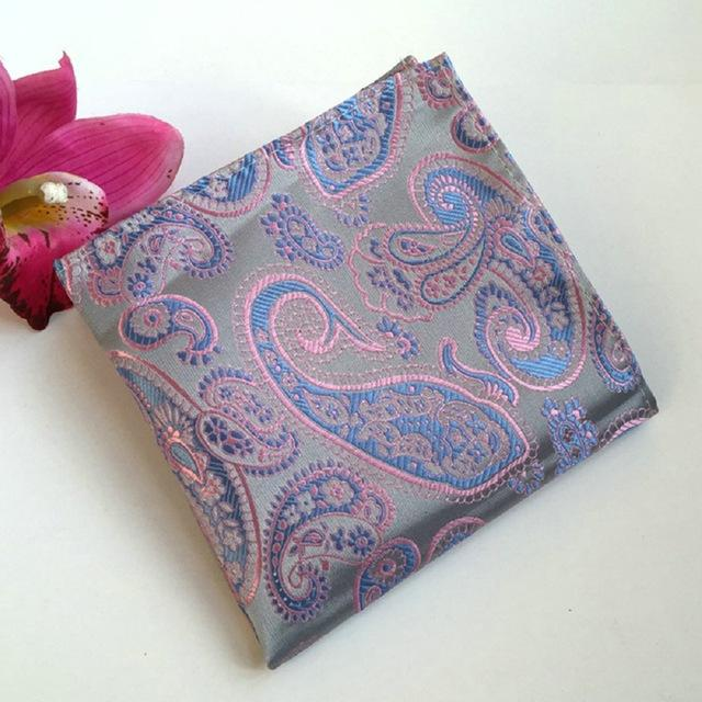 Big yellow and blue floral pattern near paisley Notch Mens Silk Pocket Square