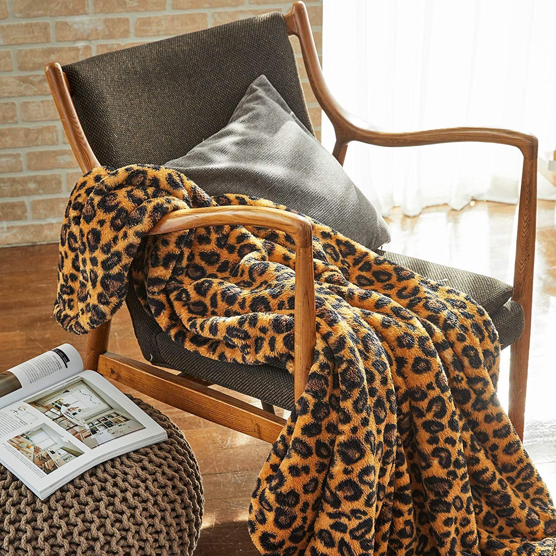 Premium Leopard Fluffy Throw Blanket - Yellow & Black