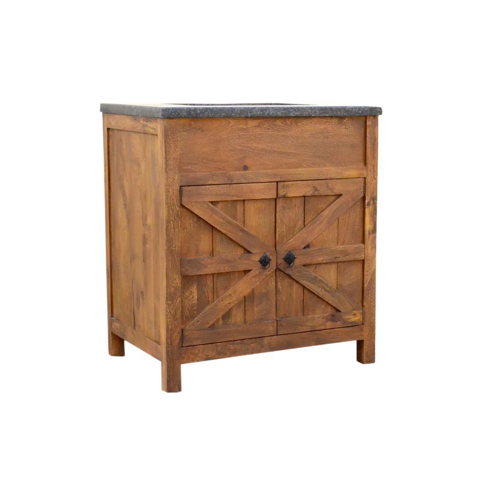 Traditional 30 In Wide Single Barn Door Vanity In Antique Finish Bv2130fs Black Granite Countertops Antiques Ceramic Sink