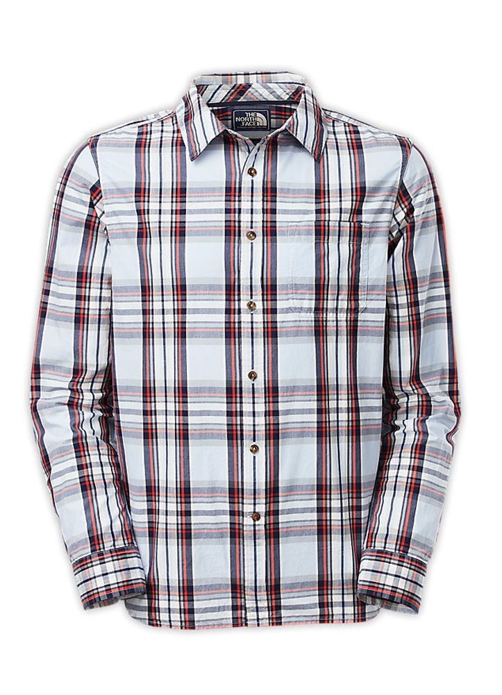 Men's Long Sleeve Hammetts Shirt in Cashmere Blue by The North Face features a classic plaid print on a button down style shirt.  This shirt features contrast gusset reinforcement at bottom hem side seam, contrast piping at inside back neck seam, a single pocket at left chest, and a canvas clip label.Material Content: 100% CottonCare Instructions: Machine Wash