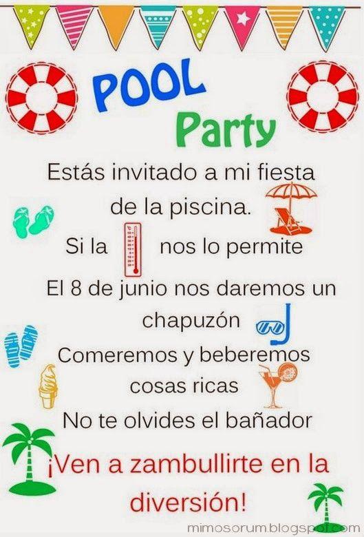 Invitaciones Fiesta Pool Party Niña En Español Buscar Con