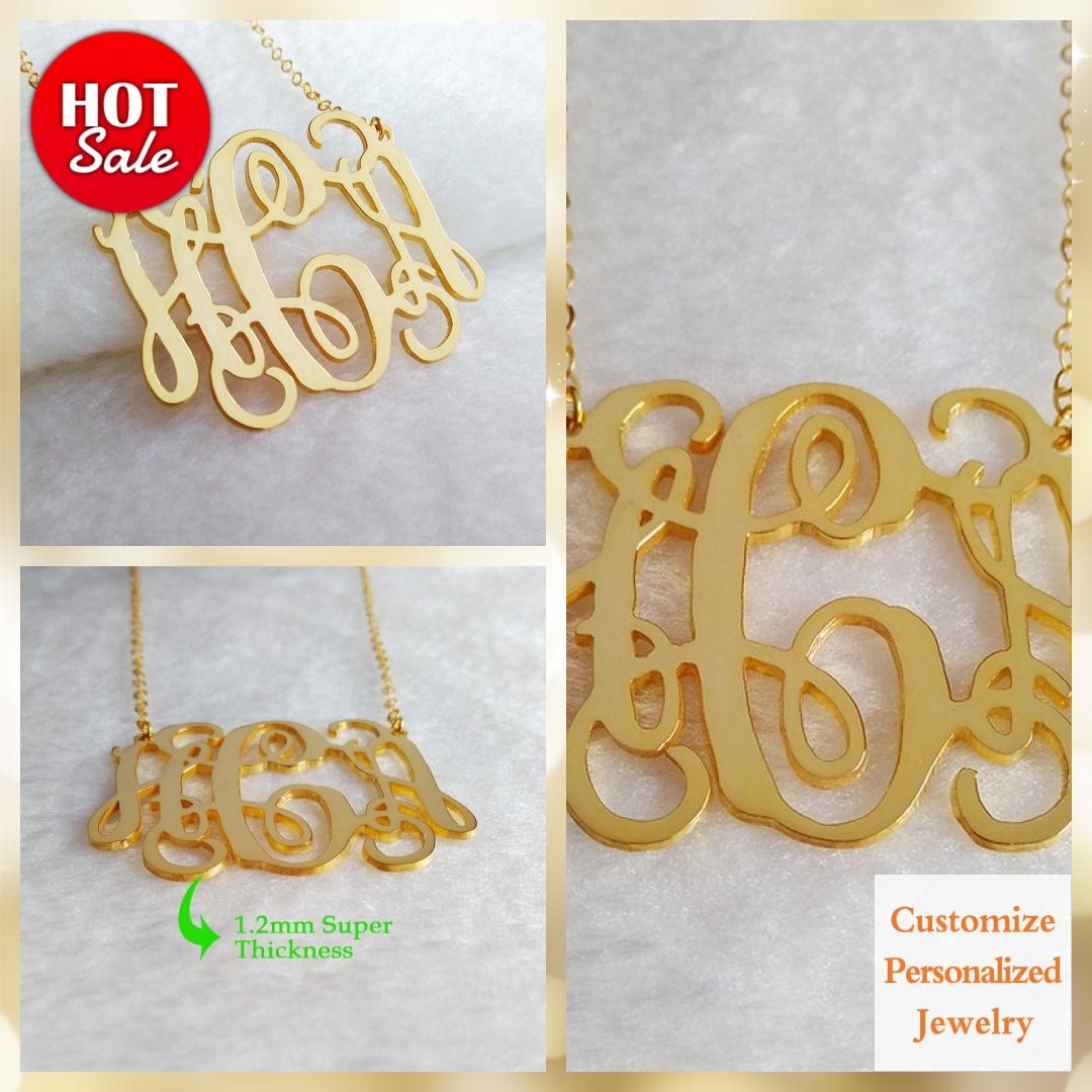 Gold Monogram Necklace,1.25 inch Personalized Necklace,3 Initial Necklace,Nameplate Necklace,Letter Necklace Christmas Gift