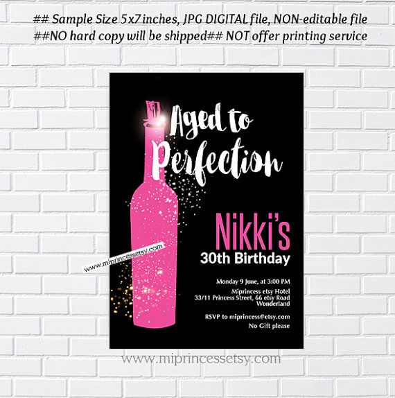 wine birthday invitation wine party aged to perfection cheers to any