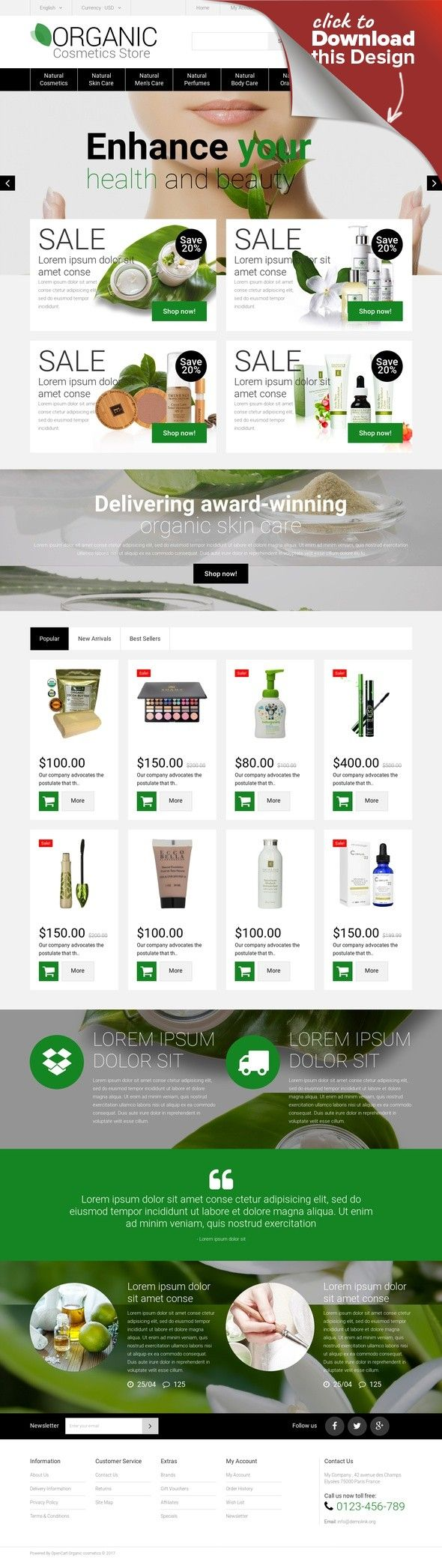 Organic Cosmetics Store OpenCart Template E-commerce Templates ...