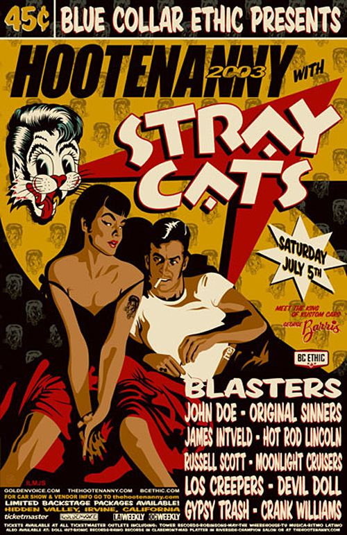 Stray Cats Poster by Tobias Geye Concertposters, Poster