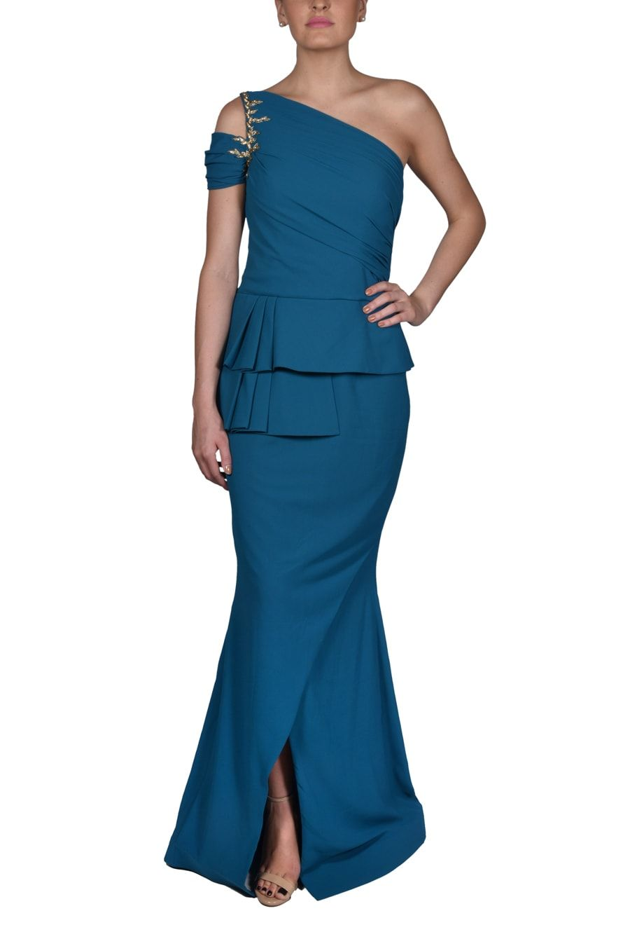 Look Stunning in this exquisite Blue Peplum Gown. Shop for Indian, Western, Indo-Western Fashion Designer Dresses and dress to kill for any occasion - Sangeet, Receptions, Weddings or Cocktails.