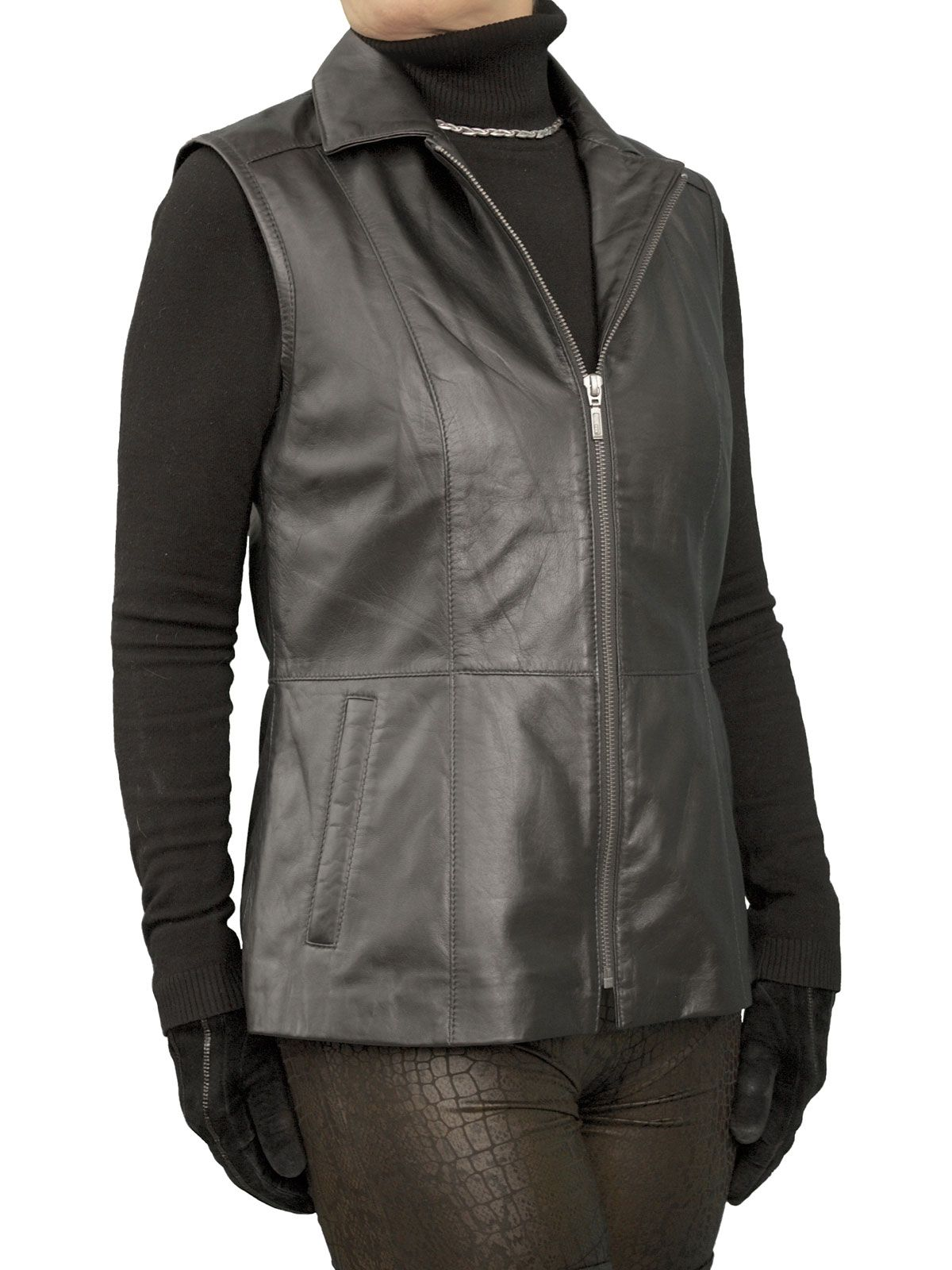Womens Luxury Soft Black Leather Gilet with standard collar. Just beautiful - made in soft and light lambskin nappa and perfect to wear any time of year.