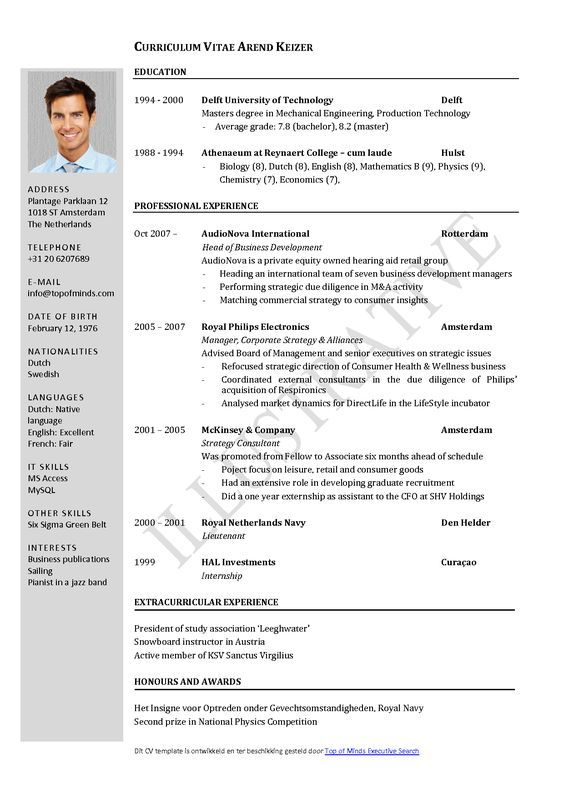 Free Curriculum Vitae Template Word  Download Cv Template