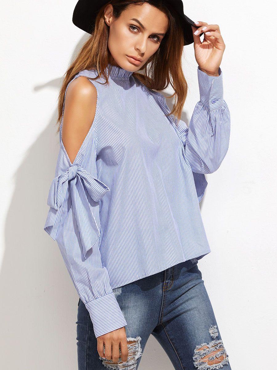 Vintacy plus size women blue strip blouse 2017 long sleeve spring ...