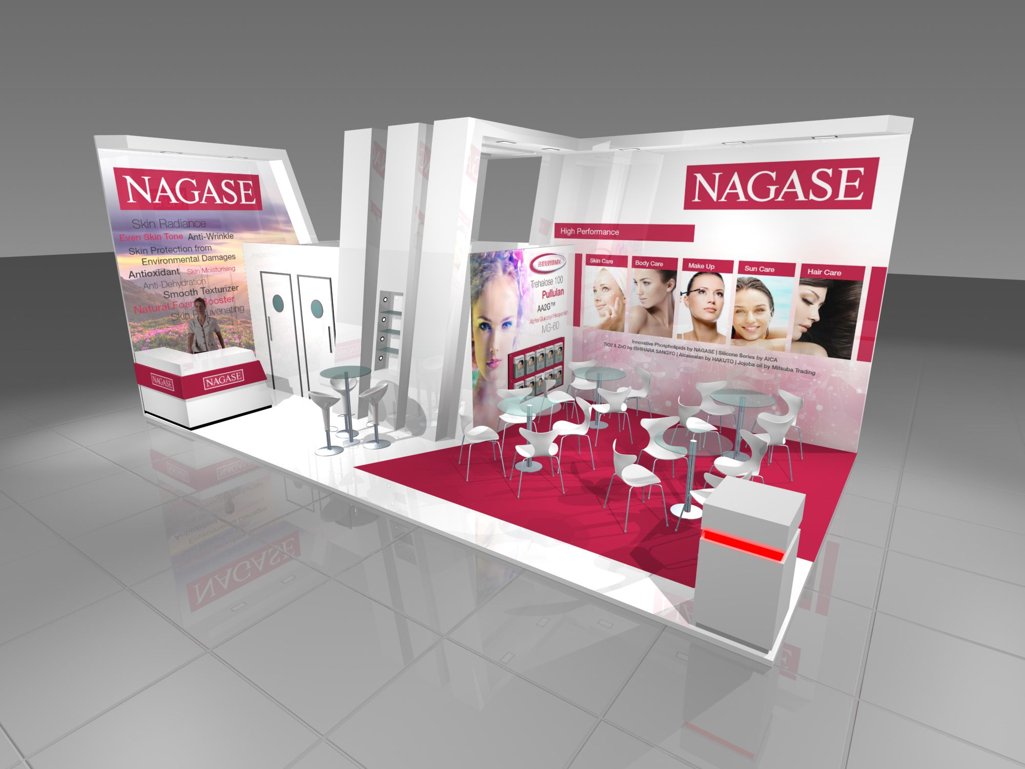 Exhibition Stand Cosmetics : Nagase exhibition stand design render for in cosmetics