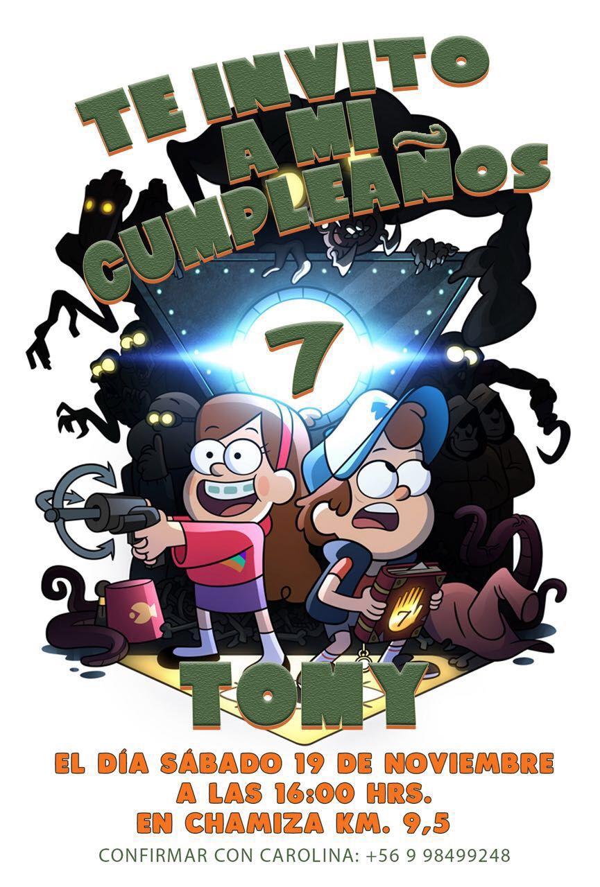 Invitación Gravity Falls Tomy Invitaciones De Cumpleaños