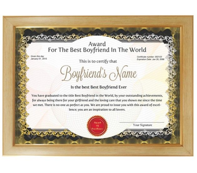 Personalized award certificate for worlds best boyfriend with personalized award certificate for worlds best boyfriend with frame yadclub Images