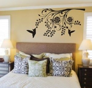 Hummingbirds and Modern Tree Branch Decal Sticker Wall Mural  36.00