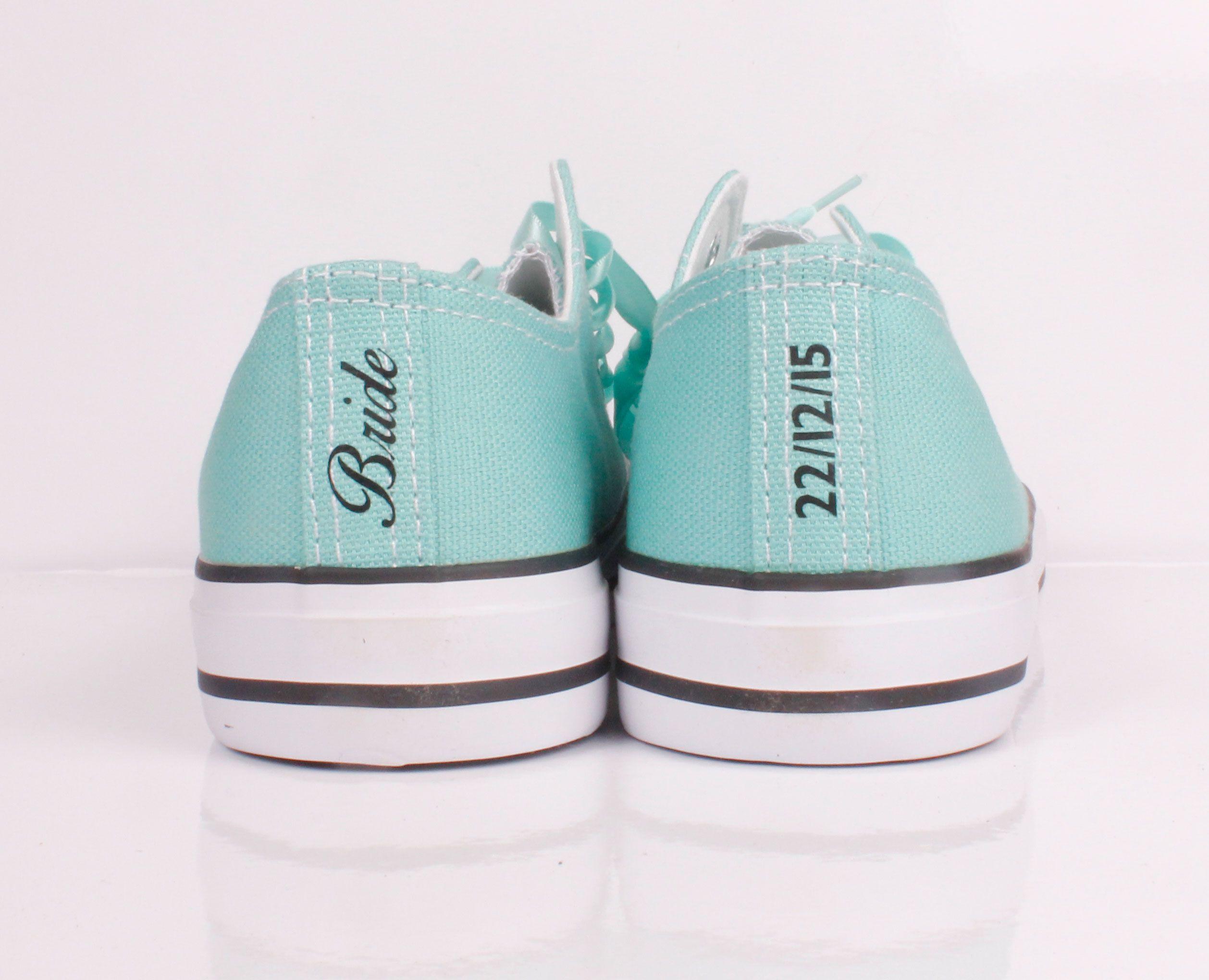 19036ae96c90 Tiffany blue Converse with Bride Heel Tag   Heel Stripe and Wedding Date