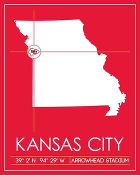 Kansas City Chiefs Map Art Picture at Kansas City Chiefs Photo Store on map history, map sam houston state university, map nfl, map university of phoenix stadium,