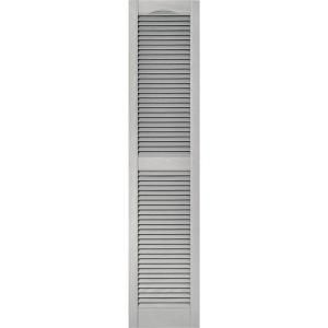 Builders Edge 15 In X 67 In Louvered Vinyl Exterior Shutters Pair In 030 Paintable 010140067030 The Home Depot Shutters Exterior Builders Edge Vinyl Exterior