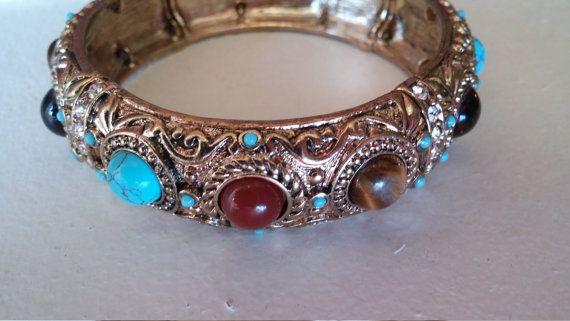 Graziano CN marked Bracelet turquoise amber tigers eye black stone