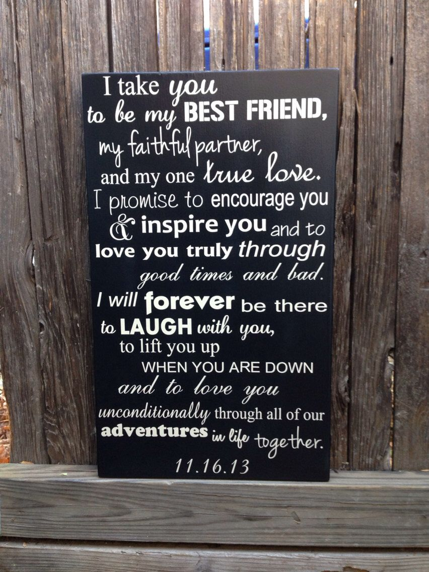 """Wedding Vows Anniversary Gift Wood Sign 12"""" x 20 Marriage"""