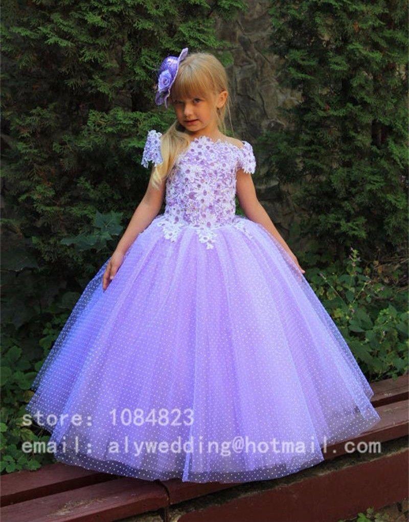 2016 lavanda Appliques vestido de bola vestidos niña Beads piso ...