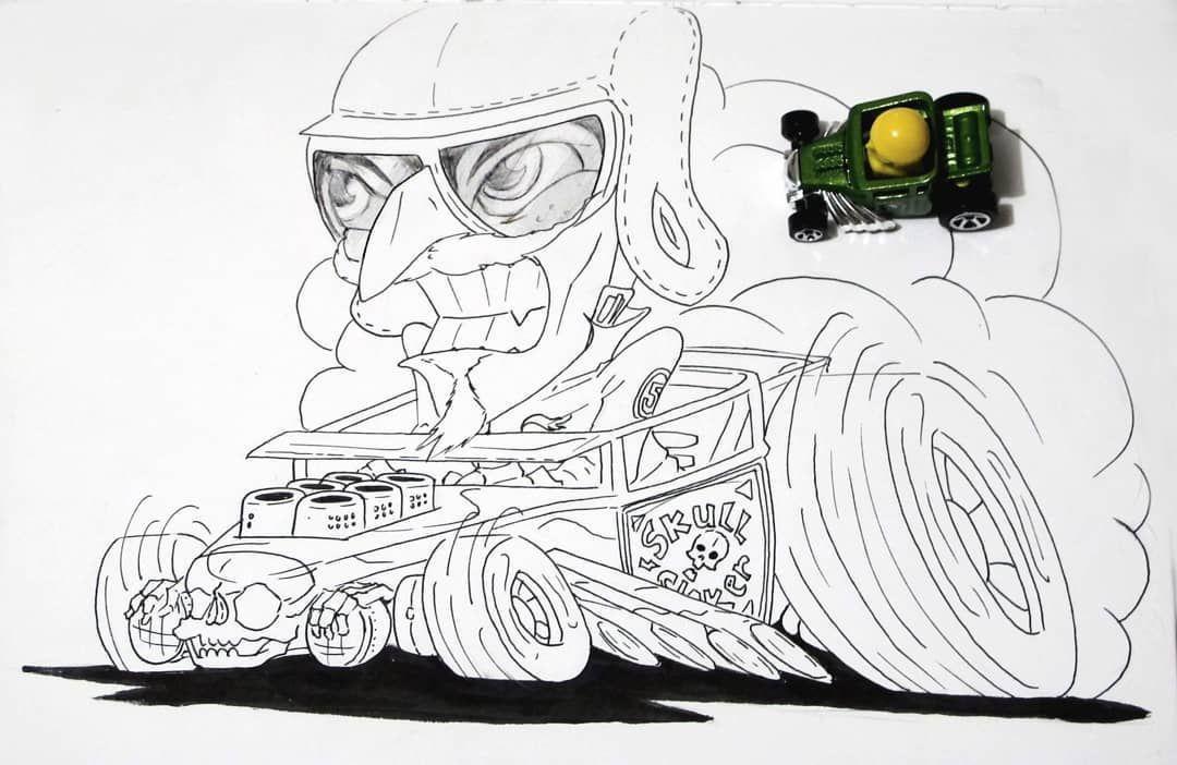 Sketch Illustrationart Illustration Ink Cars Toys Diecast Hotwheels Driver Dibujos Fast Motor Bones Skull Bone Shaker Truck Art Art Hot Wheels