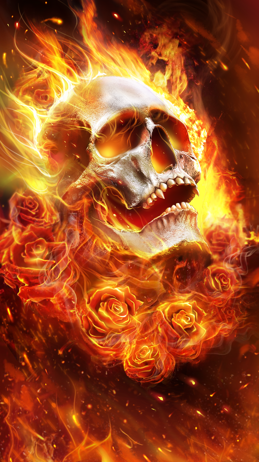Flame skull with roses! Beautiful live wallpaper Skull