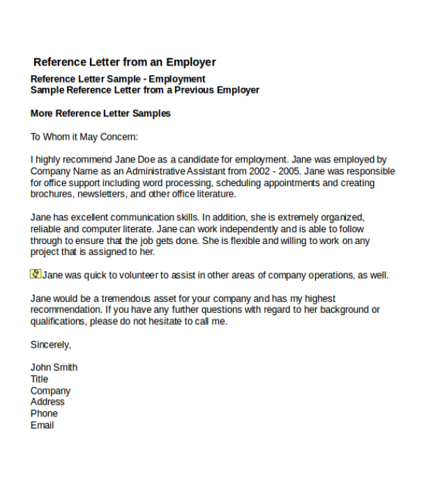 4+ Job Reference Letter Templates Free Word & PDF