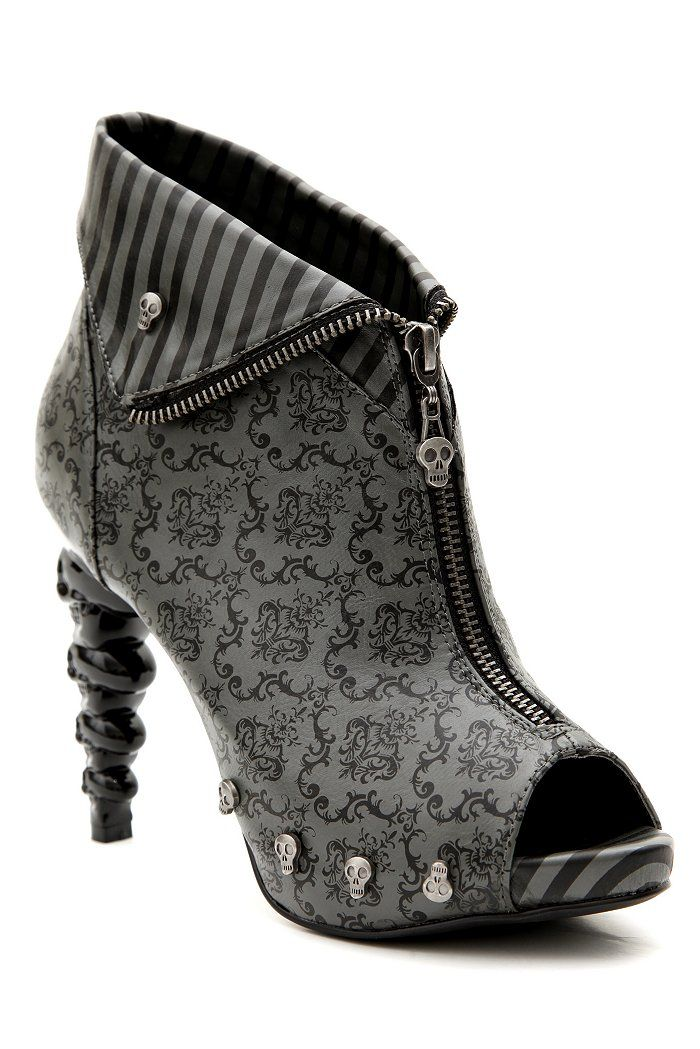 Too Fast Damask Thick Headed Boot. I like the patterns and the way they look together, I like the crazy heel, and I like the skull details. But I can't decide if I like them all together. - pk