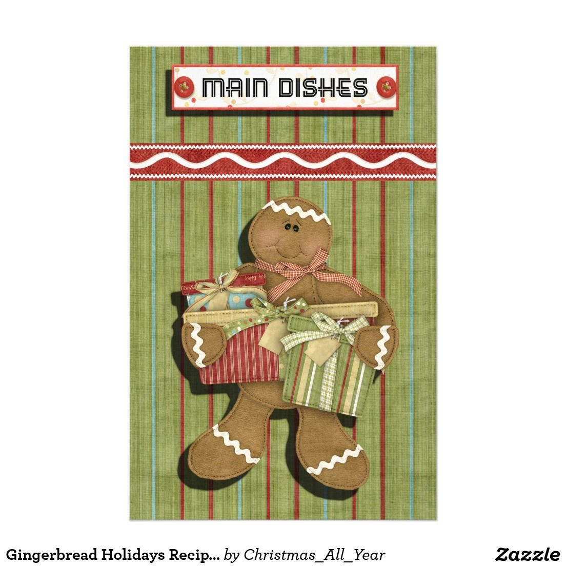 Gingerbread Holidays Recipe Binder-Divider Stationery