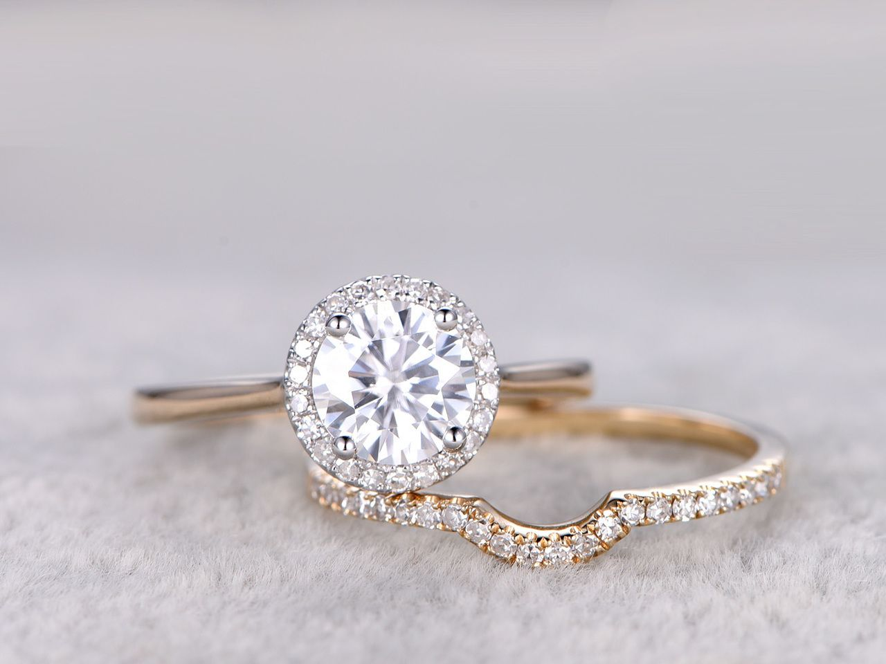 Moissanite Engagement Ring Set Diamond Wedding Bands Two Tone Gold