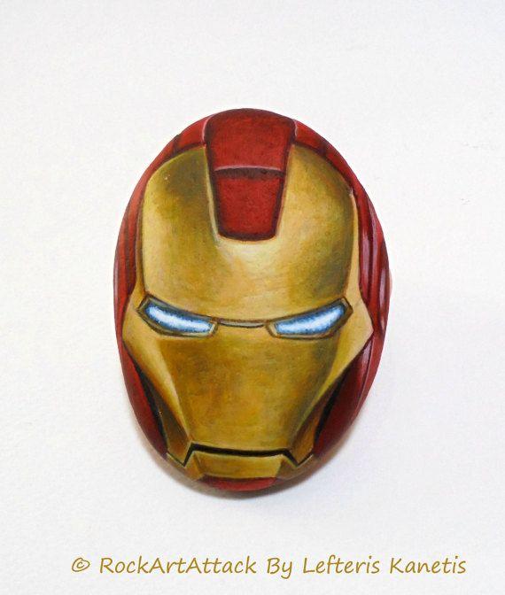 Stone Painting Iron Man S Helmet Rock Painting With Acrylics Gloss Varnish Finish 3d Hand Painted Sea Stone Super Hero Painting Stone Painting Superhero Painting Painted Rocks
