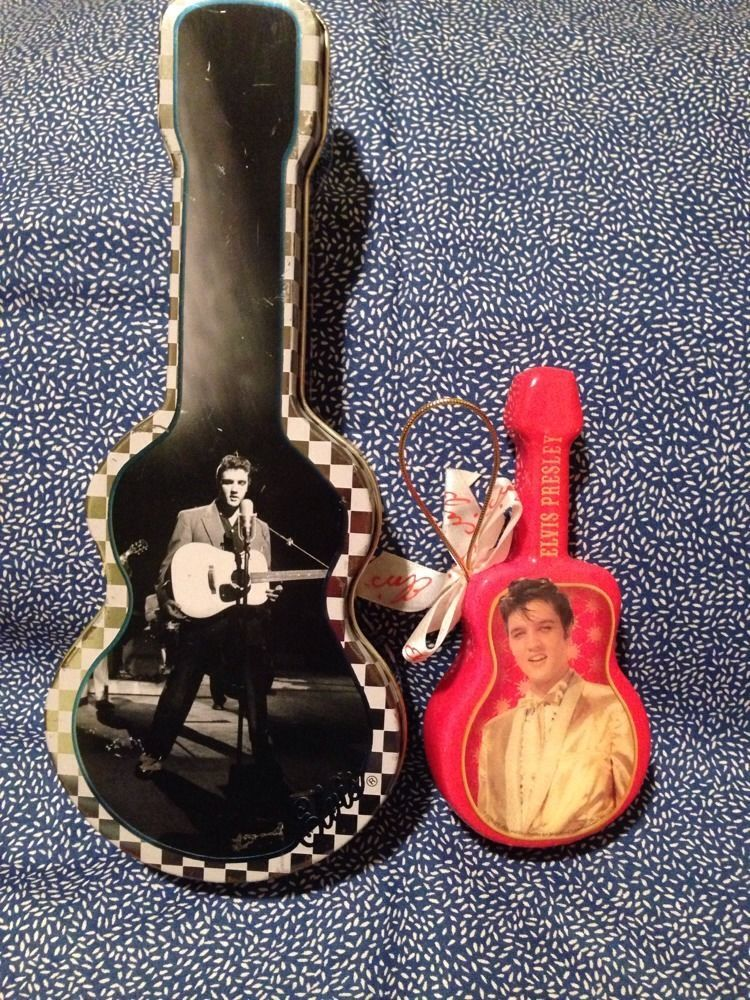 Elvis Presley Collectible Guitar Tin And Christmas Ornament