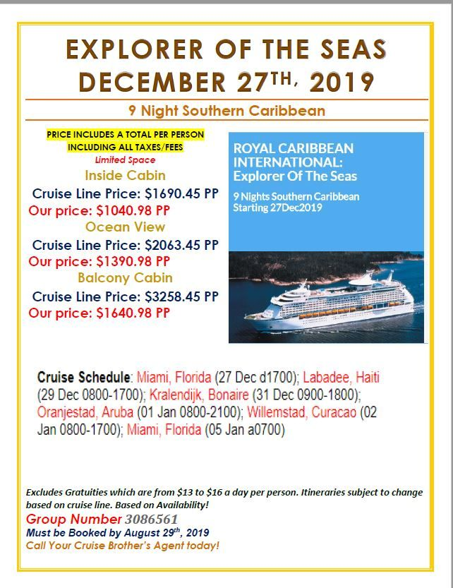 Cruise Specials For Cruise Brothers Clients