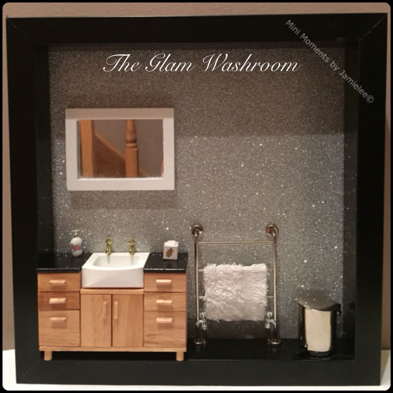 The glam washroom Mini Box frame a tiny sink unit, towel rail, pedal bin mirror and glitter wall paper :)  From mini moments by Jamielee www.fb.com/minimomentsbyjamielee