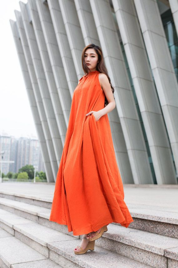 b07b43c496 Loose Fitting Long Maxi Dress Orange Linen Dress Plus Size Long Dress With  Big Sweep and Side Off Pockets