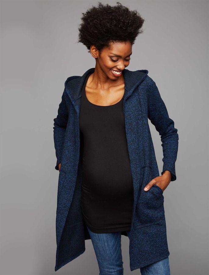 0ab03fa25e984 A Pea in the Pod Flat Welt Pockets Hacci Knit Maternity Jacket ...