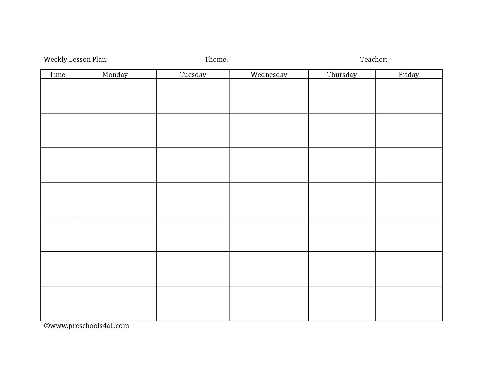 Preschool Lesson Plan Template - Lesson Plan Book Template ...