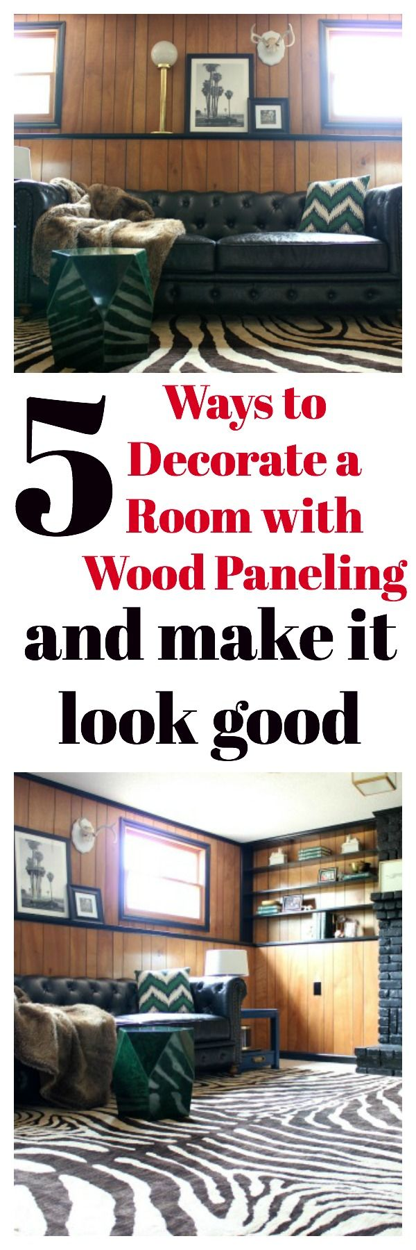Living Room Wood Paneling Makeover: How To Make Wood Paneling Look Modern Without Painting It