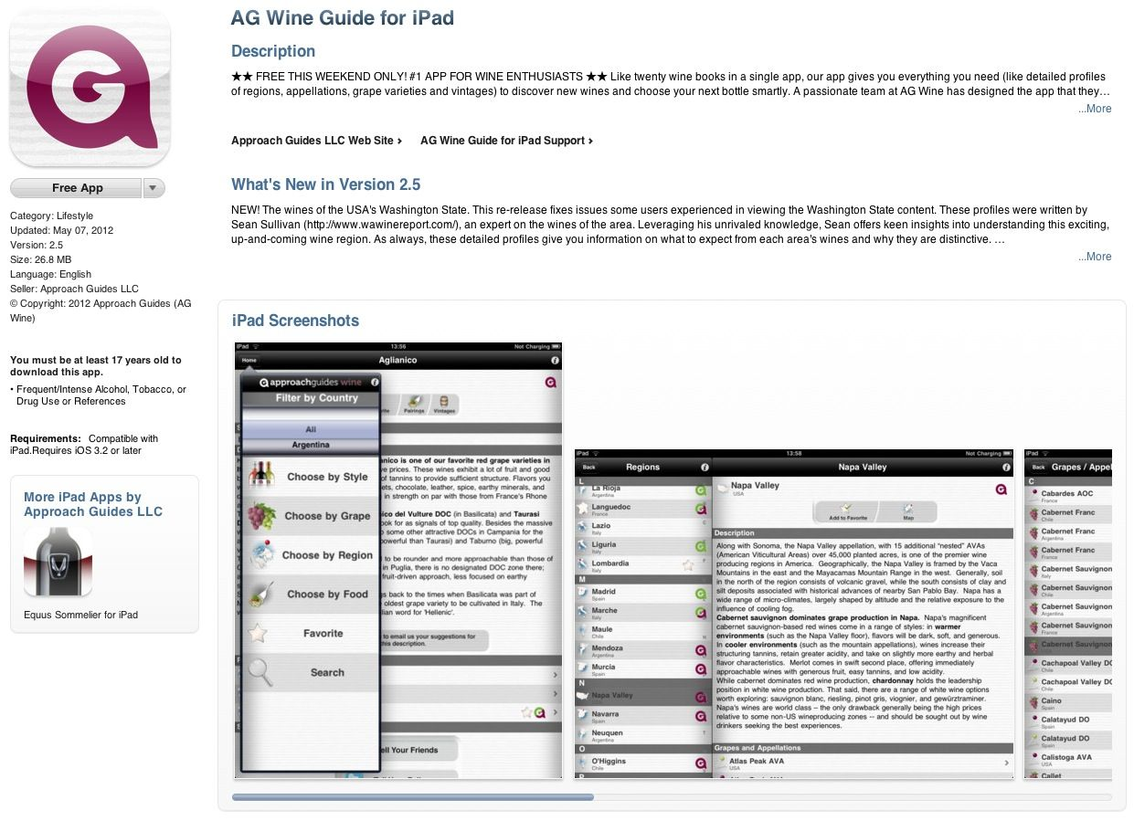 FREE iPad App: AG Wine Guide for iPad http://itunes.apple