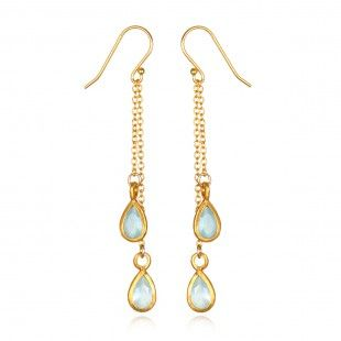 Gold Teardrop Blue Agate Earrings