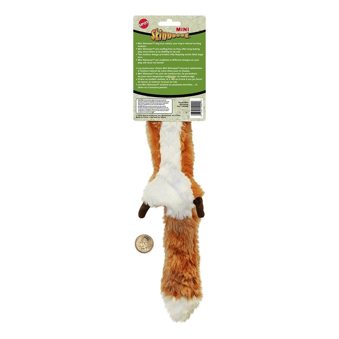 Ethical Pets Plush Skinneeez Fox 14inch Stuffingless Dog And Cat