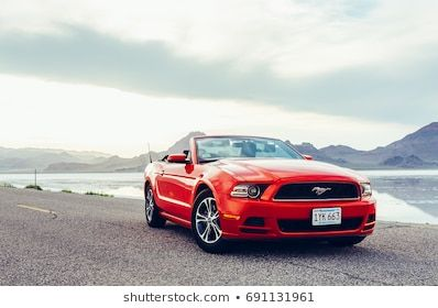 #BONNEVILLE #,UTAH, #USA  BONNEVILLE ,UTAH, USA JUNE 4, 2015: Photo of a Ford Mustang Convertible 2012 version at Bonneville Salt Flats,Utah,USA. The fifth generation began with the 2005 model year to 2014. #utahusa