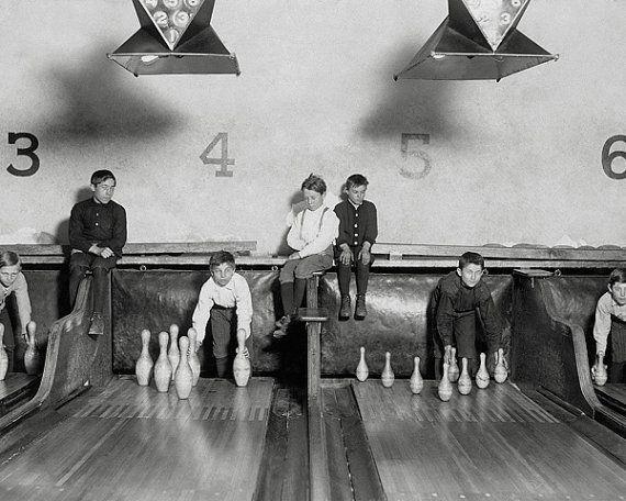Arcade Bowling Alley 1909. Vintage Photo Digital by HistoryPhoto