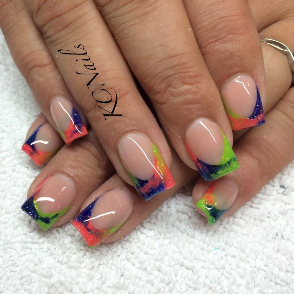 Tie dye french tip nails, neon nails. KCNails | My designs | Pinterest