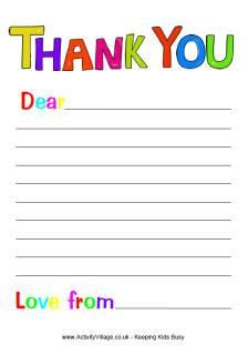 Printables List Letter Template For Kids Thank You Letter Template Writing Paper Template